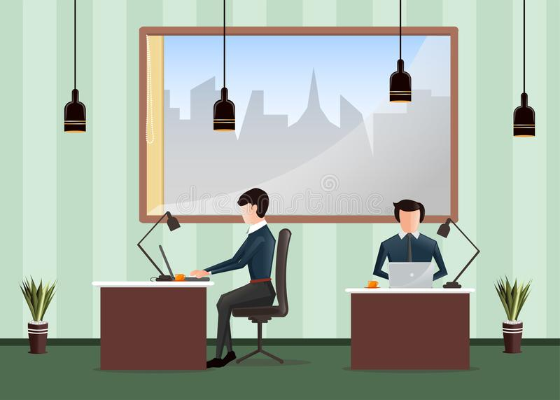 Office workplace. People working in the office. Workers sitting at desks and work on the computer. stock illustration