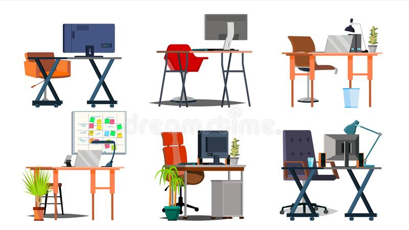 Office Workplace Set Vector. Interior Of The Office Room. PC, Computer, Laptop, Table, Chair. Interior. Furniture vector illustration