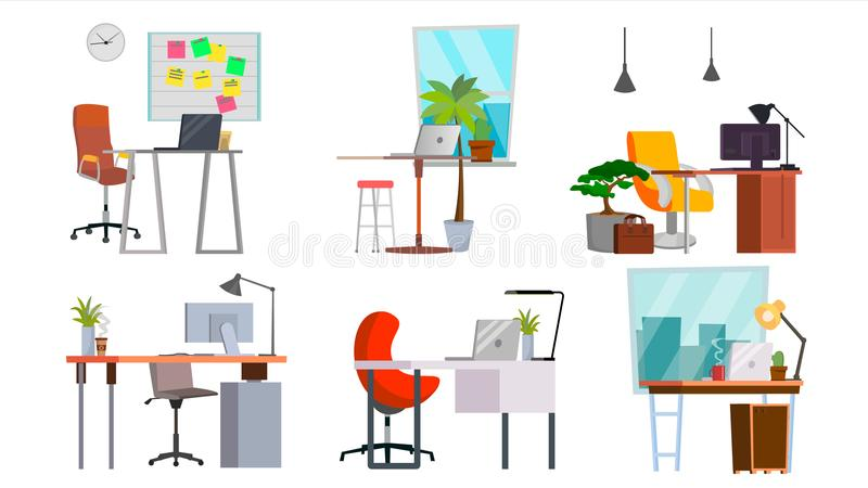 Office Workplace Set Vector. Interior Of The Office Room, Creative Developer Studio. PC, Computer, Laptop, Table, Chair stock illustration