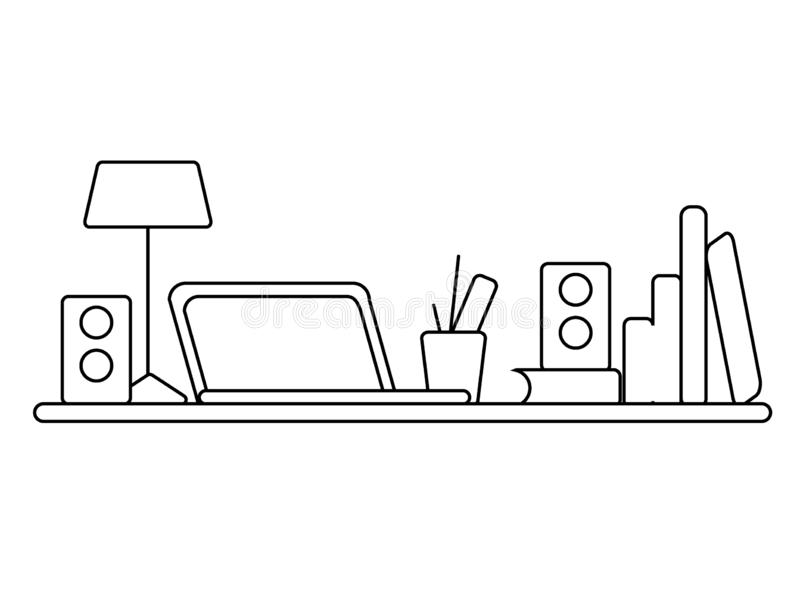 Office workplace. On the table is a laptop, lamp, cup. Vector illustration with Black line stock image