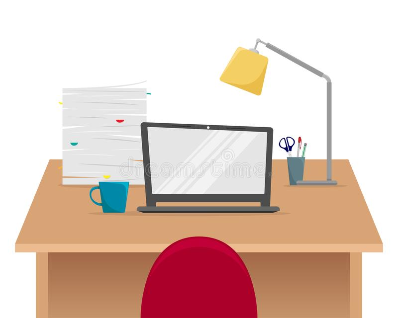 Office workplace. Table with laptop, stack of papers, Desk lamp stock illustration