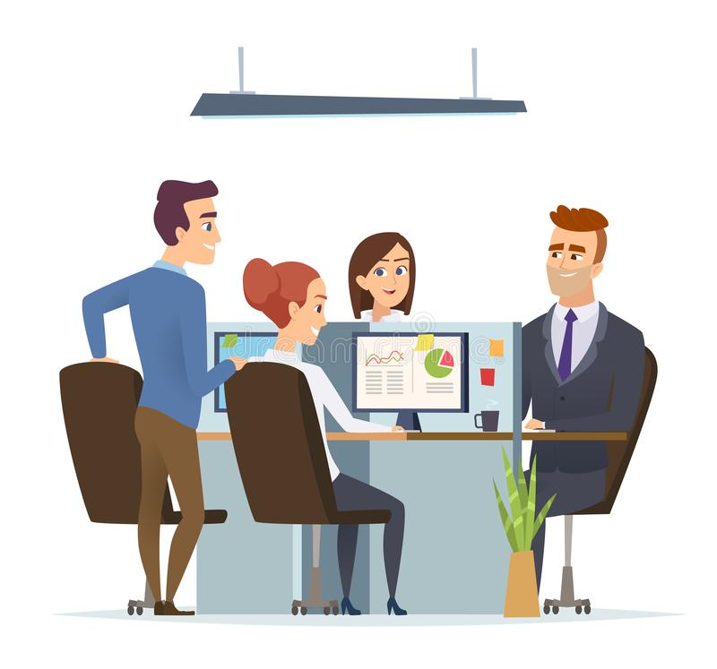 Office workplace team. Business managers male and female working and talking sitting table dialog of group people vector stock illustration