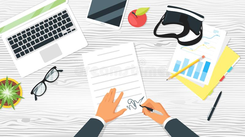 Office workplace top view. Business workplace. Businessman hands. Overhead top view. Vector illustration. Office stationery and various things around. White vector illustration