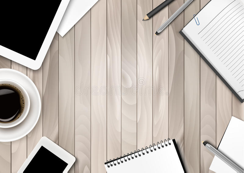 Office workspace background - coffee, tablet, notebooks. And paper. Vector stock illustration