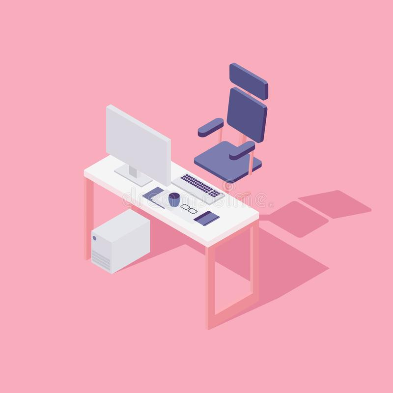 Office workspace. Computer, chair. Flat isometric vector illustration royalty free illustration