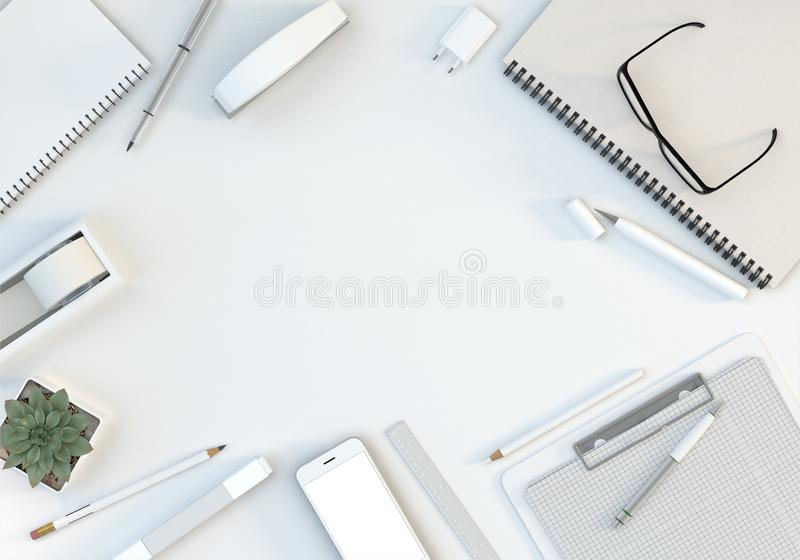 Office workspace with computer keyboard, stationery set and smartphone on white table. Top view. Flat lay. 3D illustration. Modern workspace with computer vector illustration