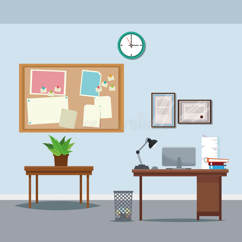 Office workspace desk table potted plant clock notice board trash can laptop. Vector illustration royalty free illustration