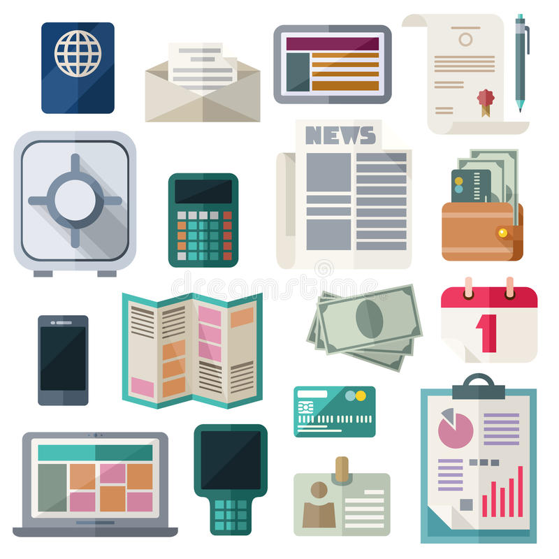 Office Workspace And Finance Flat Icons On White Background. Business and financial work items, essentials, equipment, elements, development tools. Colorful vector illustration