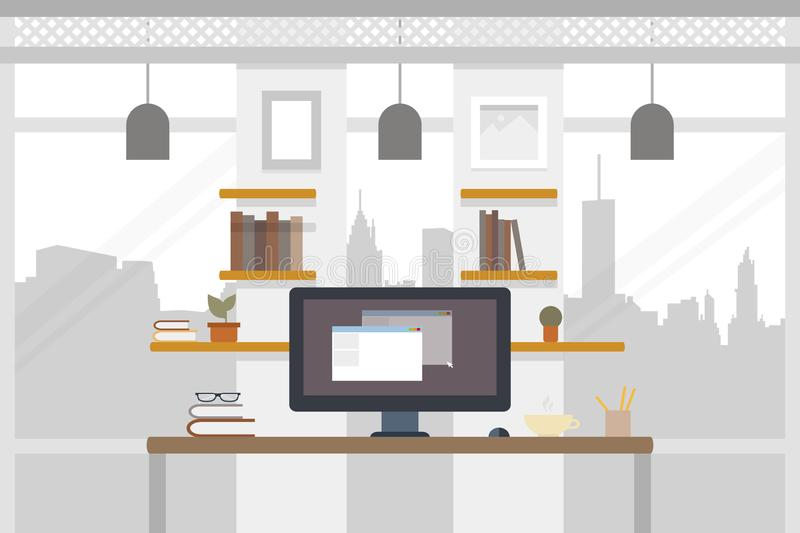 Office worlplace. Working illustration in flat design. Work space. Coworking banner. Vector illustration vector illustration