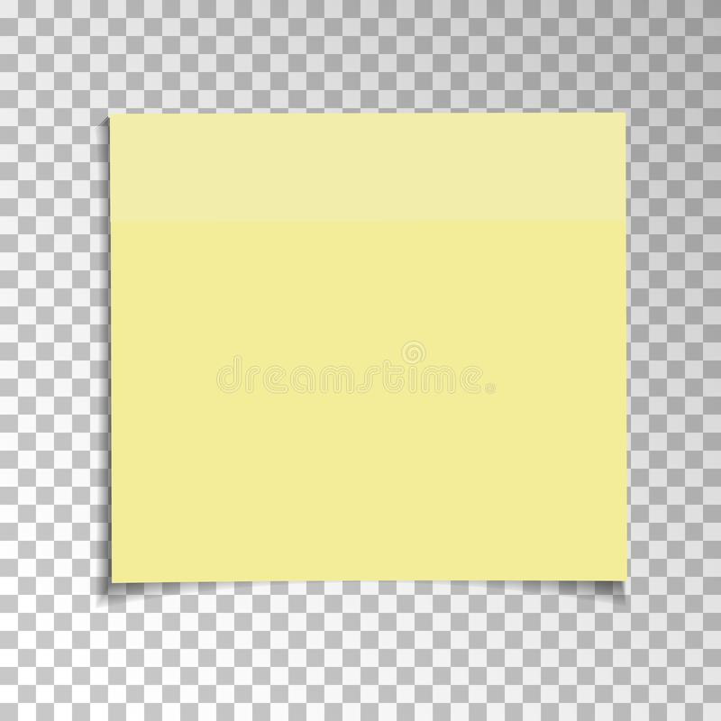 Office Yellow paper sticky note isolated on transparent background. Template for your projects. Vector illustration stock illustration