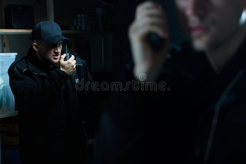 Officers calling for back up stock photos