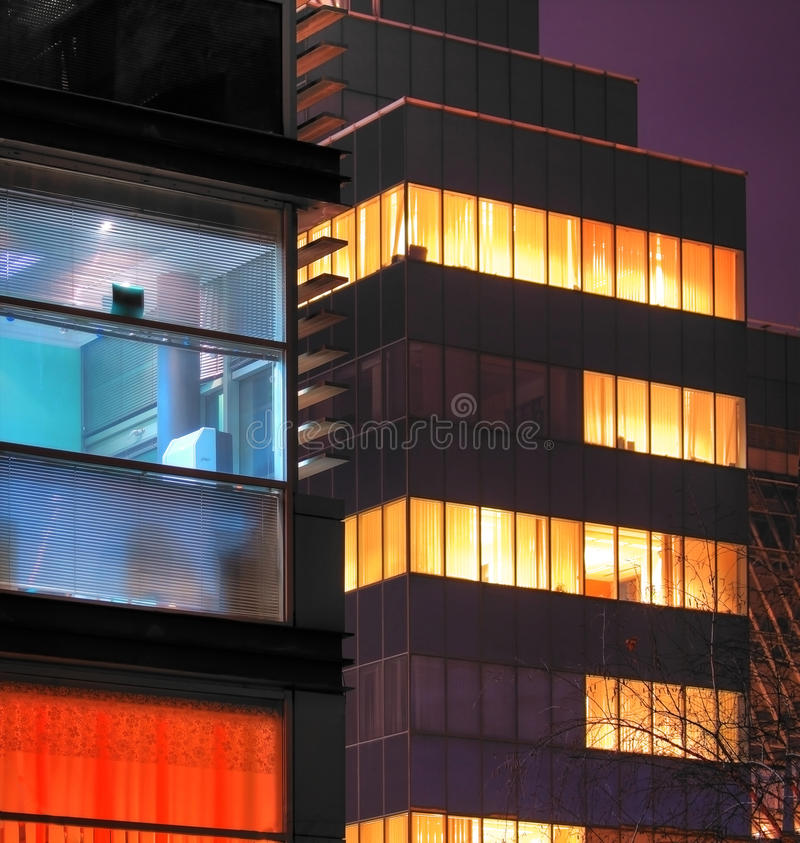 Offices At Night Stock Image