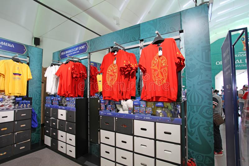 Officiële de Ventilatorwinkel van FIFA 2018 op Musheuvels, Moskou royalty-vrije stock foto