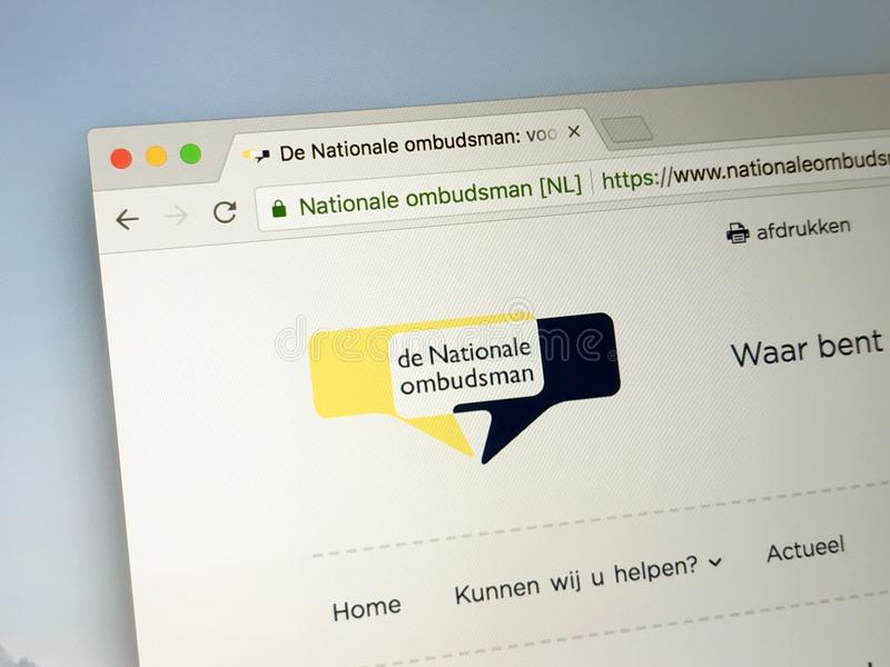 Officiële homepage van de Nationale Ombudsman stock afbeelding