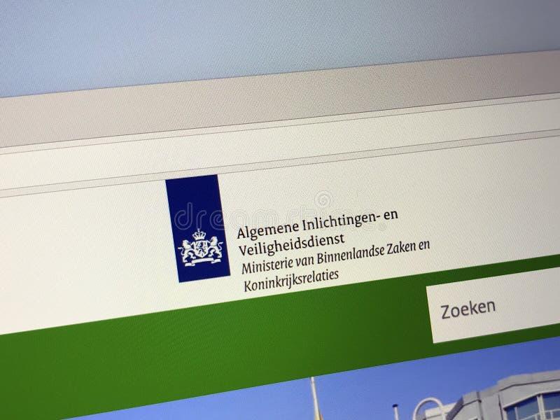Officiële homepage van de Nederlandse Algemene Intelligentie en Veiligheidsdienst royalty-vrije stock foto's
