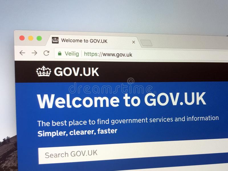 Officiële homepage van de Regering van het Verenigd Koninkrijk stock fotografie