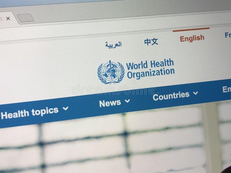 Officiële homepage van de Wereldgezondheidsorganisatie stock afbeelding