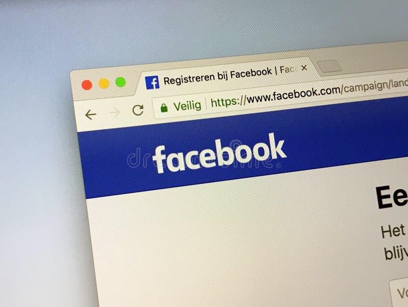 Officiële homepage van Facebook stock afbeelding