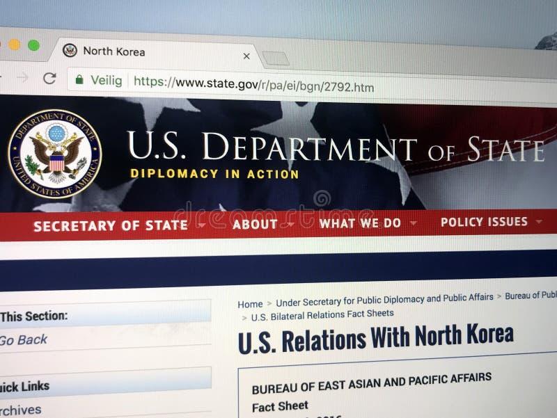 Officiële homepage van het Ministerie van Verenigde Staten van Staat of Ministerie van Buitenlandse Zaken royalty-vrije stock foto