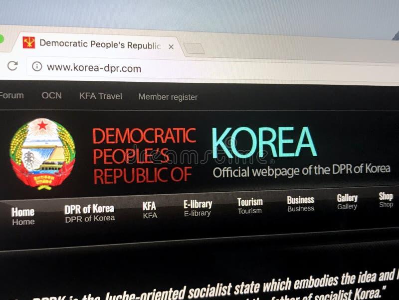 Officiële homepage van regering van de Mensen` s Republiek van Korea PRK of Noord- Koreaanse overheid stock fotografie