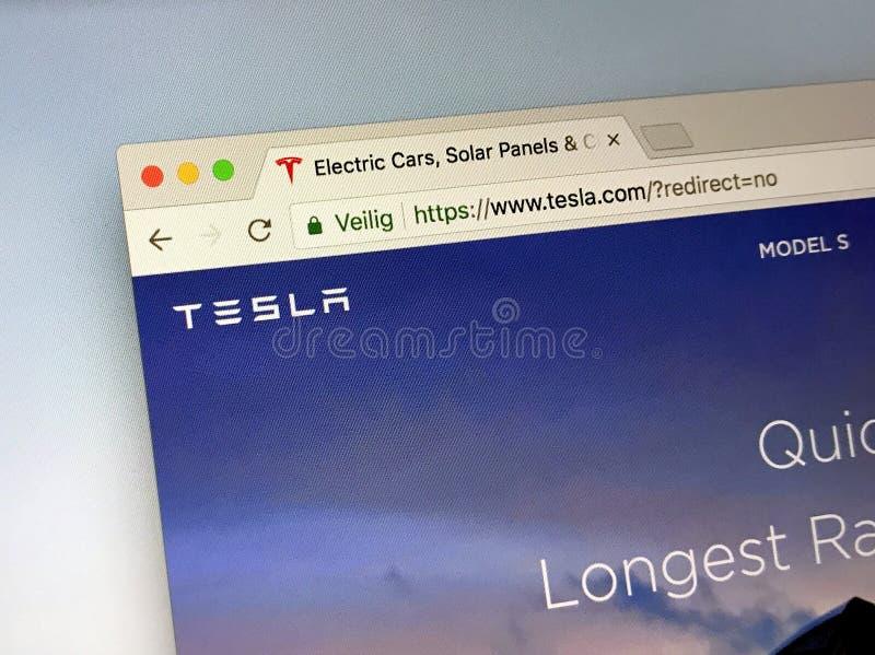 Officiële homepage van Tesla stock foto