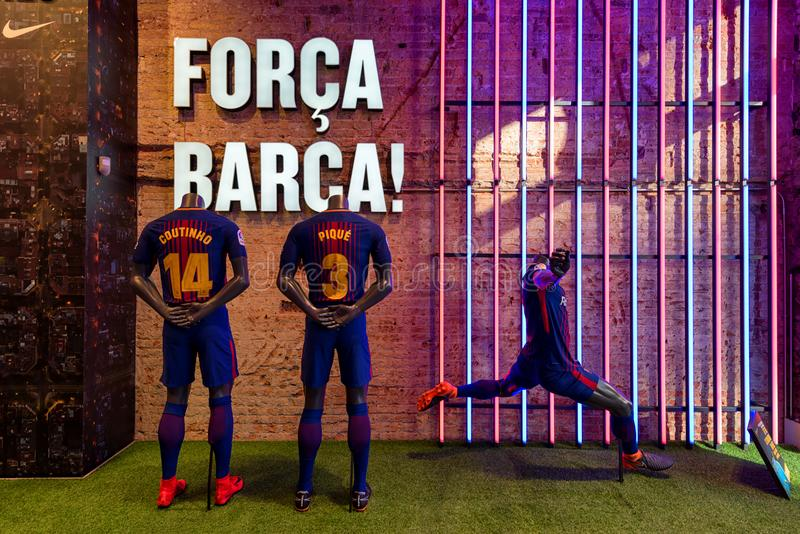 Officiële opslag van voetbalclub Barcelona Forca Barca stock foto's