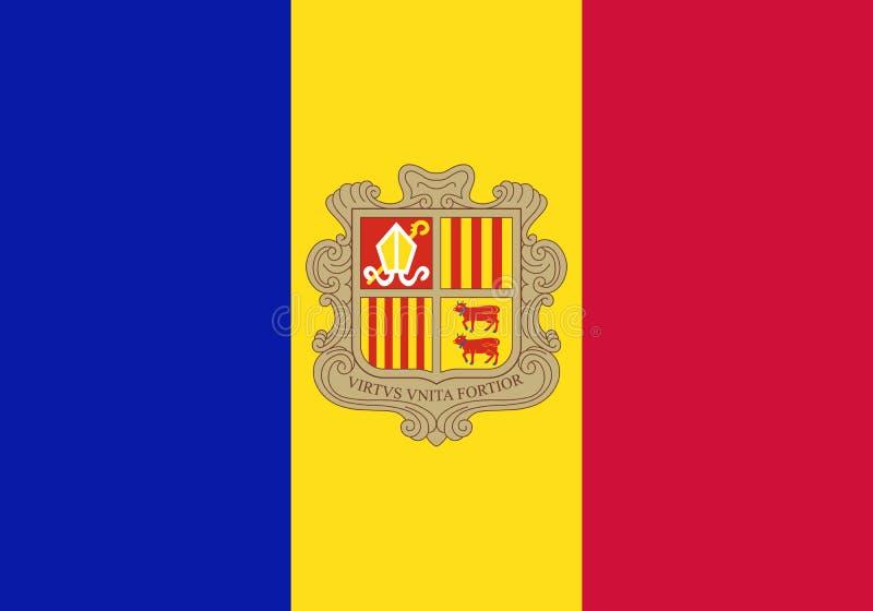 Officiële vectorvlag van Andorra stock illustratie