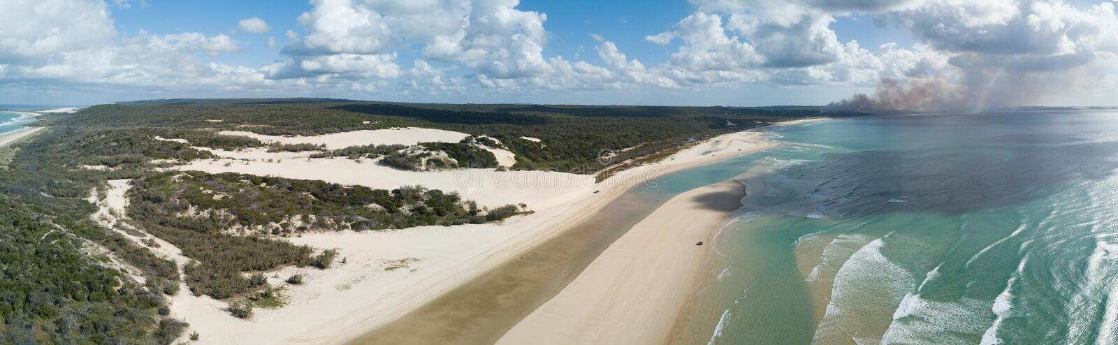 Official beach road Fraser Island. K`gari Fraser Island is a heritage-listed island located along the southeastern coast of the state of Queensland, Australia stock image