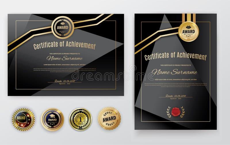 Official black certificate with gold design elements. emblem, gold text. Luxury background. Set of emblems stock illustration