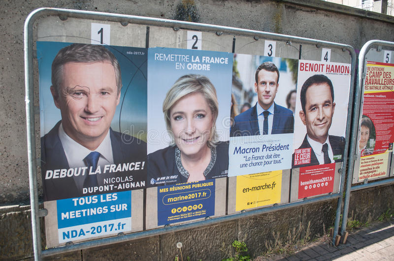 Official campaign posters of political party leaders ones of the eleven candidates running in the 2017 French presidential electi. MULHOUSE - France -21 April stock image