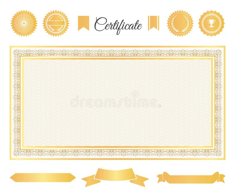 Official Certificate Gold Decorative Elements Set vector illustration