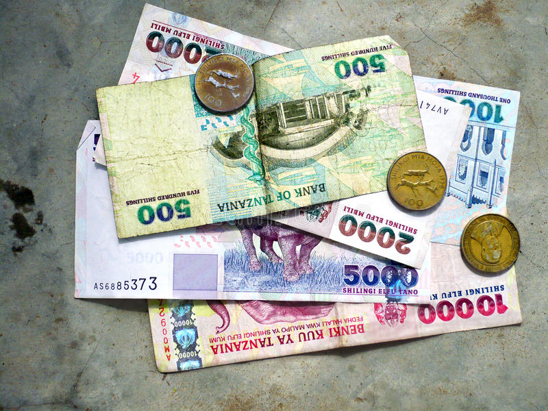Official currency of Tanzania, paper banknotes, Tanzanian shillings. State currency Tanzania, Tanzanian paper money, Tanzanian shillings royalty free stock photo
