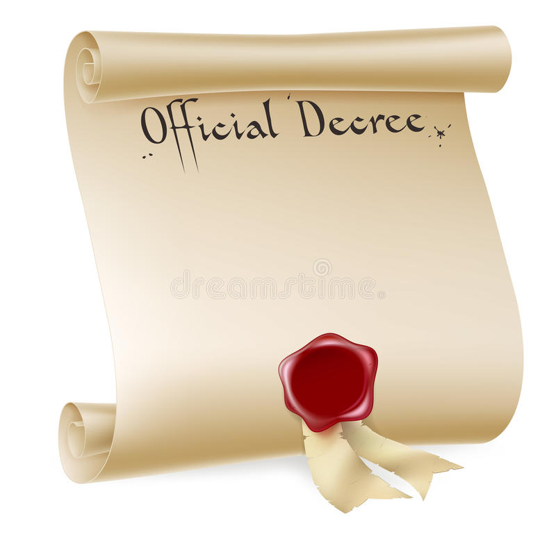 Official Decree Scroll With Red Wax Seal Royalty Free Stock Image
