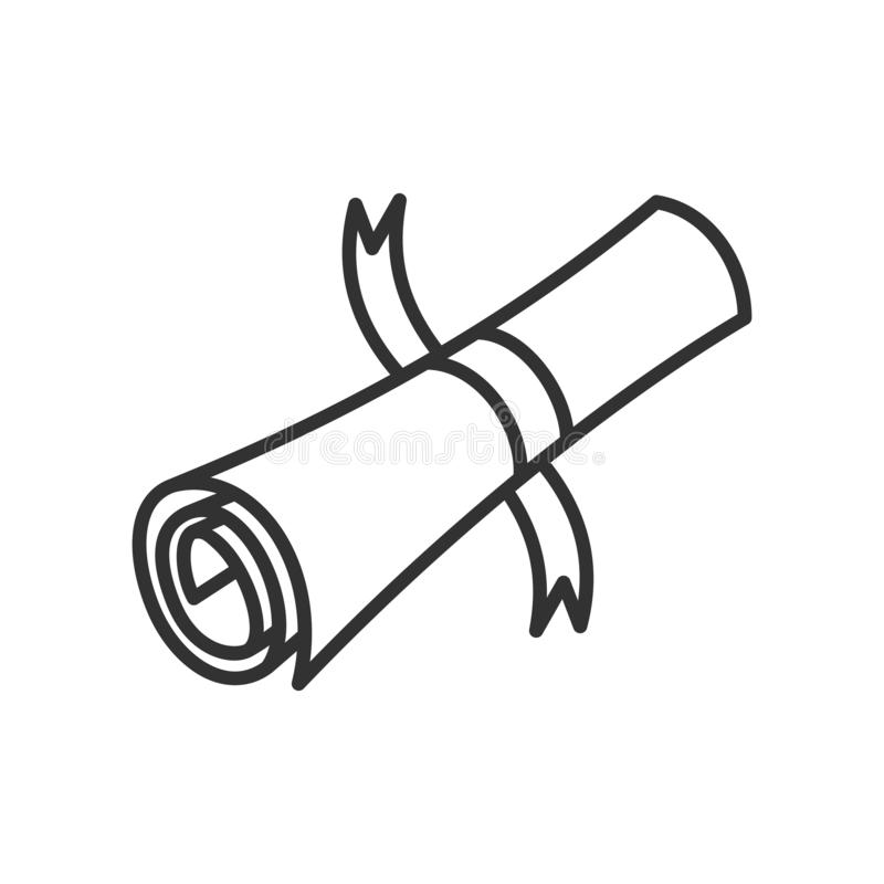 Ancient Scroll Outline Flat Icon on White royalty free stock image