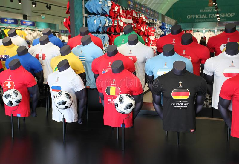 Official FIFA 2018 Fan Shop on Sparrow Hills, Moscow stock photography