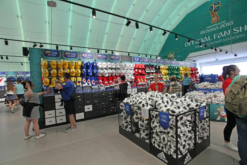 Official FIFA 2018 Fan Shop on Sparrow Hills, Moscow stock images