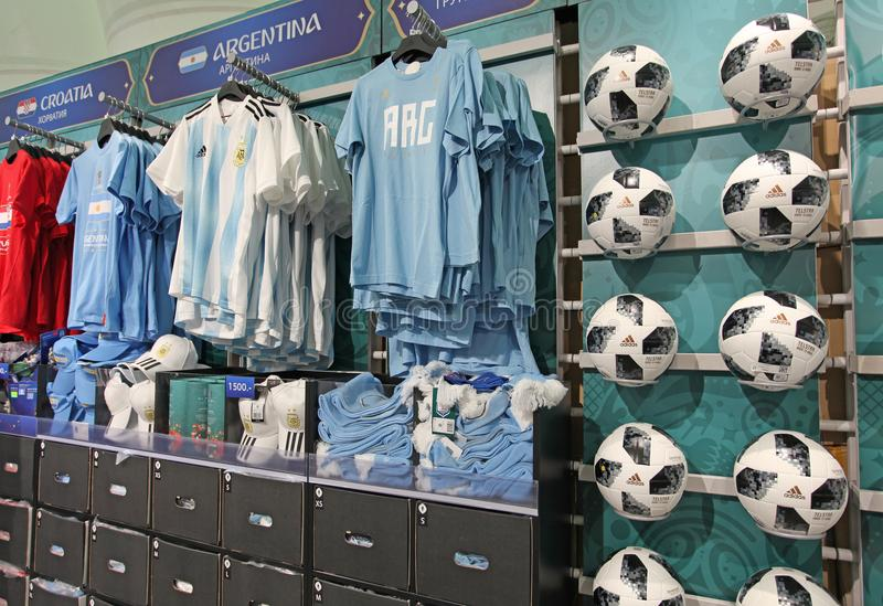 Official FIFA 2018 Fan Shop on Sparrow Hills, Moscow stock image