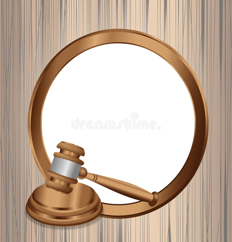 The Official Judgment Order. A round wooden frame with blank copy space and a judge mallet hammer in one corner vector illustration