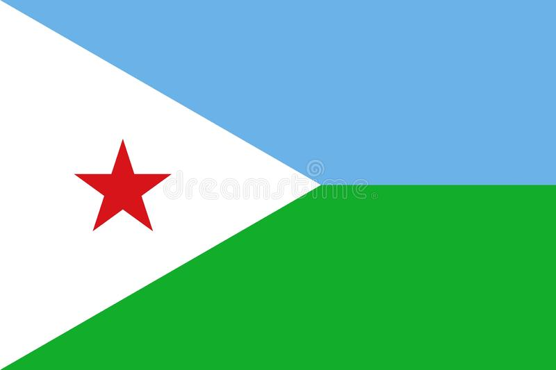 Flag of Djibouti. Official Large Flat Flag of Djibouti Horizontal vector illustration