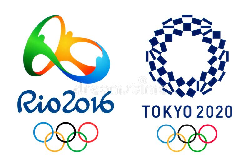 Official logos of the 2020 Summer Olympic Games in Tokyo, Japan and Olympic Games 2016 in Rio, Brazil stock photography