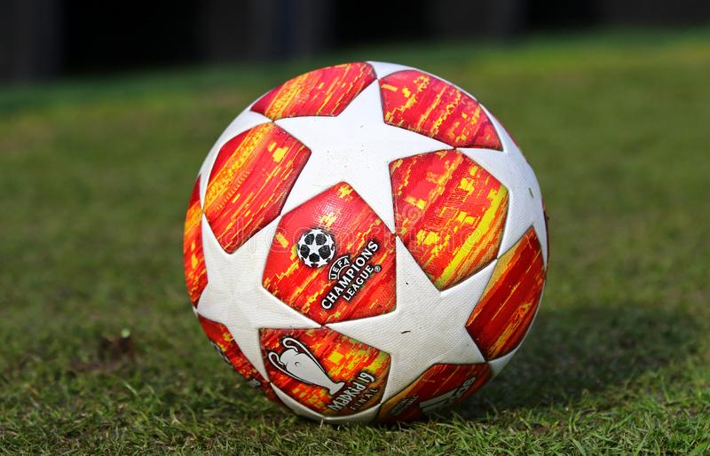 Official match ball of UEFA Champions League 2019 Madrid Final. KYIV, UKRAINE - FEBRUARY 20, 2019: Official match ball of UEFA Champions League 2019 Madrid Final royalty free stock image