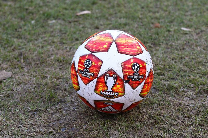 Official match ball of UEFA Champions League 2019 Madrid Final. KYIV, UKRAINE - FEBRUARY 20, 2019: Official match ball of UEFA Champions League 2019 Madrid Final stock photo