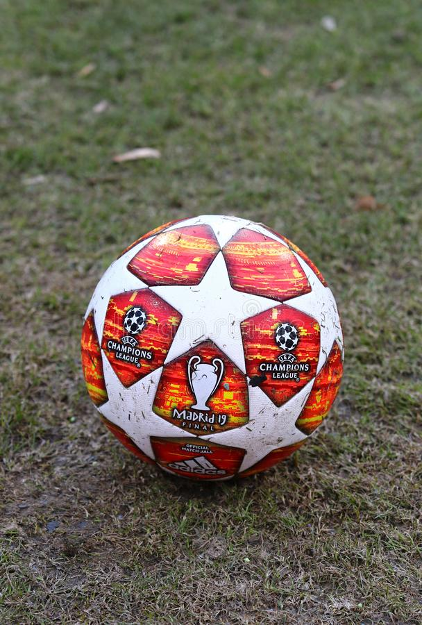 Official match ball of UEFA Champions League 2019 Madrid Final. KYIV, UKRAINE - FEBRUARY 20, 2019: Official match ball of UEFA Champions League 2019 Madrid Final stock image
