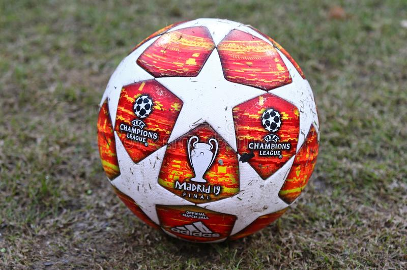 Official match ball of UEFA Champions League 2019 Madrid Final. KYIV, UKRAINE - FEBRUARY 20, 2019: Official match ball of UEFA Champions League 2019 Madrid Final royalty free stock images