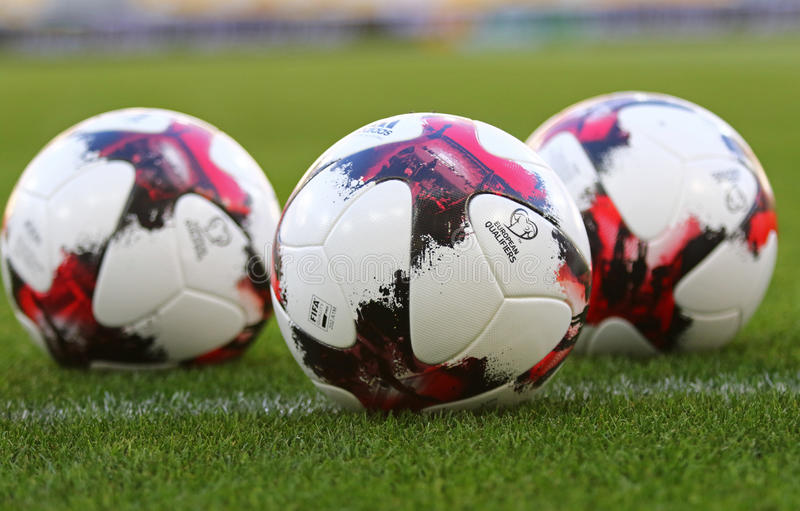 Official match balls of FIFA World Cup 2018 royalty free stock photo