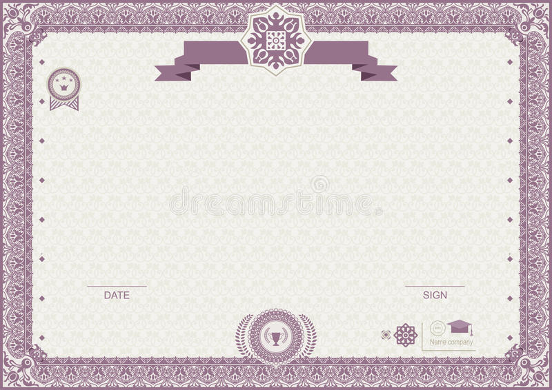 Official modern certificate. Pink ornamental border EPs 8 royalty free illustration