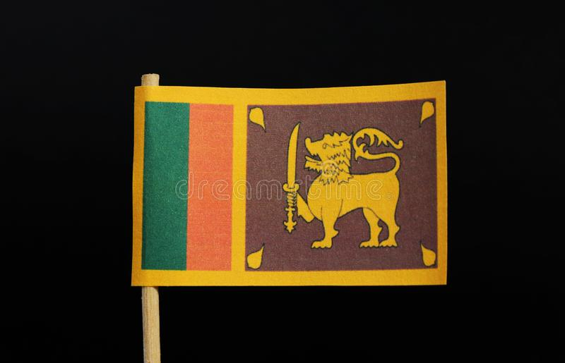 The official and national flag of Sri Lanka on toothpick on black background. A yellow field with two panels: the smaller hoist-. Side panel has only two stock image