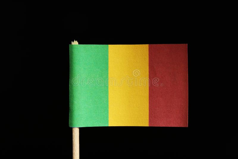 A official and original flag of Mali on toothpick on black background. Consists of a vertical tricolour of green, gold and red. stock images