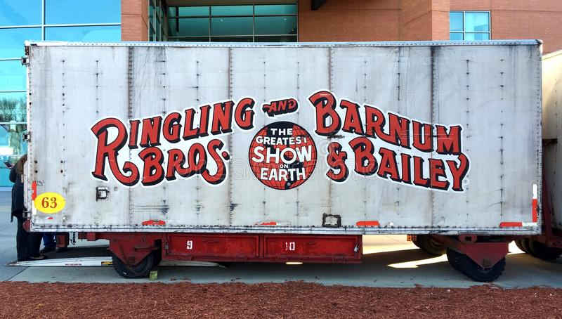 Official Ringling circus truck trailer. Official ringling bro and barnum bailey circus truck trailer / haul trailer. Each trailer has different number and royalty free stock photos