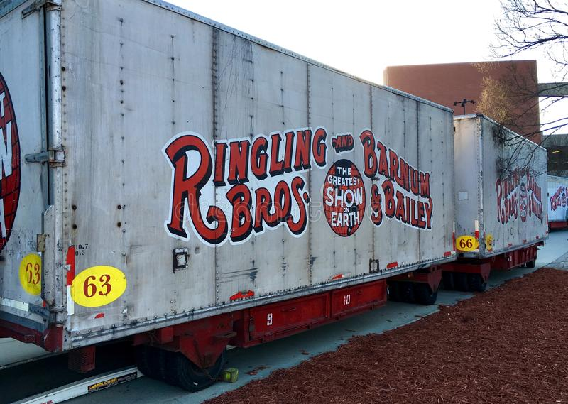 Official Ringling circus truck trailer. Official ringling bro and barnum bailey circus truck trailer / haul trailer. Each trailer has different number and stock photos
